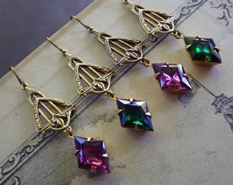 Art Deco ~ Emerald Earrings ~ Vintage Glass ~ Amethyst Purple ~ Rare Stones ~ Vintage Style - by LadyofTheLakeJewels