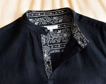 Black linen classic handmade men's shirt