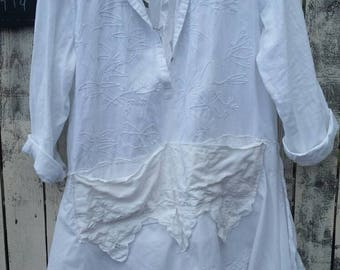 Cut-out Cut-up Cotton Linen Mix Vintage Doily Plus Tunic Shabby Frayed Prairie Hipster Upcycled Altered Courture Plus