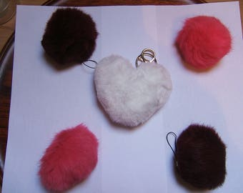 POMPOMS in fur x 5