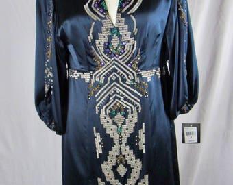 NWT  Vtg Nanette Lepore  Art Deco 100% silk sapphire blue exquisitely beaded occasion dress