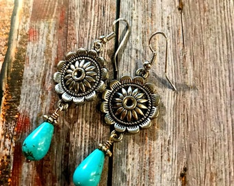 Silver concho turquoise beadrop earrings