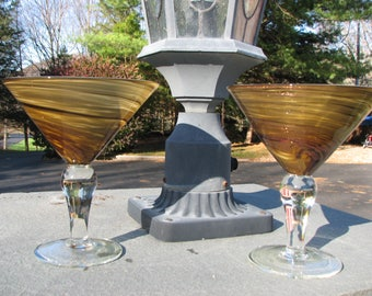 Hand Blown Martini Glasses - Swirled Amber - Vintage
