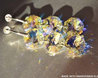 SWAROVSKI crystal earrings crystal ab Octagon / 925 sterling silver