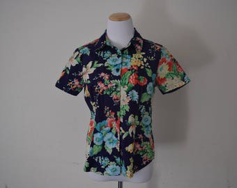 FREE usa SHIPPING jungle top/blouse short sleeve/ floral blouse/ jungle shirt button/ up shirt tropical/cotton spandex blouse size S