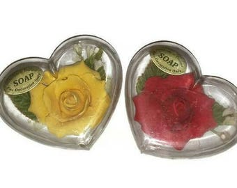 Vintage ROSES SOAP Set Heart Shaped Case Yellow & Red Rose Flower Soap Petals Leaves Floral Shabby Chic Vanity Decor Valentines Gift Mom BFF