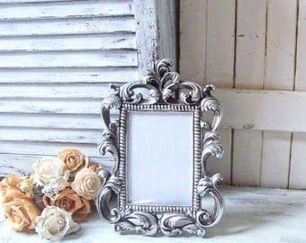 Silver Vintage Style Ornate Baroque Frame, Table Number Frame, Party Favor, Rustic Silver Elegant Wedding Frame Picture Frame, Nursery Frame