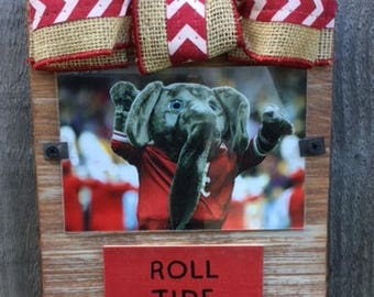 Alabama Roll Tide Whitewashed Rustic Frame