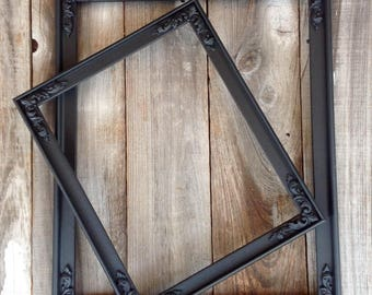 Set of two black gothic frames with ornate details/ empty frames/ gothic wedding/ home decor