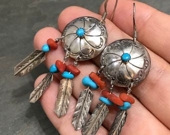 Vintage sterling silver handmade earrings, Native American 925 silver with turquoise and carol stone, feather drops, silver tested