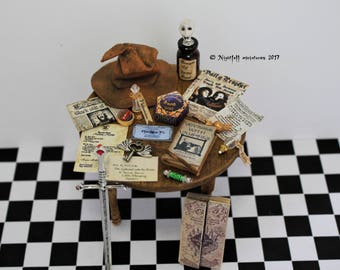 Dollhouse Miniature Magic Fantasy Harry Potter Inspired table  with Marauders Map  Gryffindor Sword in 1:12 scale