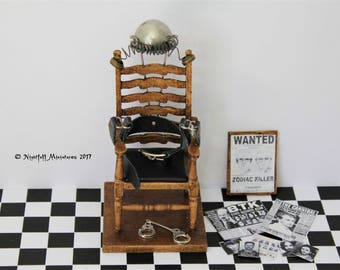 Dollhouse Miniature Electric Chair  Serial Killers   1:12 scale