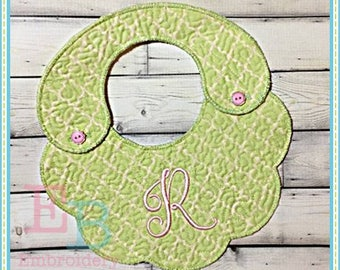 ITH Plain Scalloped Bib - This design is to be used on an embroidery machine. Instant Download