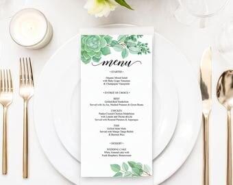 Succulent Wedding Menu Template - Printable Menu - Succulent Wedding - Bridal Shower Menu - 4 x 8 Menu - Printable Menu Template - Succulent