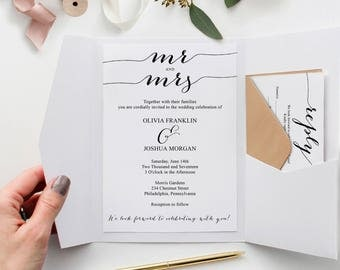 Printable Wedding Invitation Set - Wedding Invitation Template - Wedding Invitation Suite - RSVP - Details Card - Instant Download