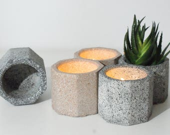 Set of 5/FREE SHIPPING/Tea light candle Holder/Air Plant Holder/Succulent Planter/Gray Planters/Wedding Favor/Home Decor/Concrete planters