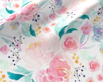 Pink Floral Quilting Fabric by the Yard Floral Baby Girl Fabric Nursery Fabric Organic Cotton Knit Floral Fabric Cotton Fabric