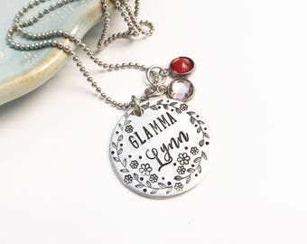 Pewter ~ Glamma Bear ~ Mama Bear ~ Necklace ~ Hand Stamped ~ Mommy Jewelry ~ Artisan ~ Tribal Gift ~ New Mom ~ Free Spirit ~ Trending