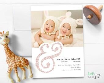 Twin Birth Announcement - Printable Birth Announcement - Baby Announcement - Twin Girl Announcement - Twins Announcement - Twin Birth Card