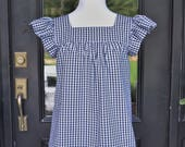 Women's top the Low Country top in navy gingham custom made by Collyn Raye