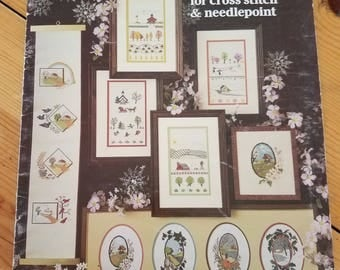 Four Seasons, charted designs for cross stitch & needlepoint, leisure arts leaflet 174, vintage