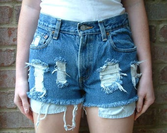 Levis 550s Vintage Destroyed Denim Shorts, XS