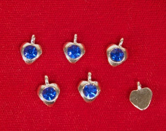 """10pc """"blue sapphire"""" heart rhinestone charms in antique silver style (BC1346)"""