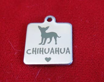 """1pc """"Chihuahua"""" charms in stainless steel (BC1362)"""