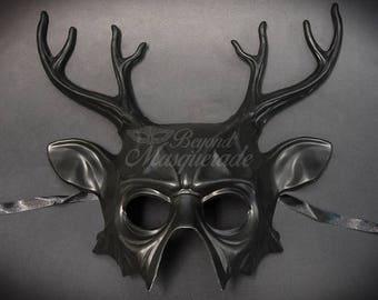 Deer Halloween Haunted House Props Animal Masquerade Mask Black