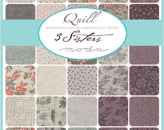 """3 SISTERS  QUILL Jelly Roll 40 - 2.5"""" x 44""""  Fabric Strips  For Moda Birds, Floral, Script"""