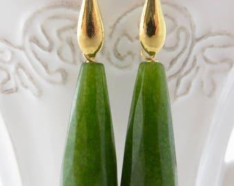 Jade earrings, apple green earrings, gold plated 925 sterling silver earrings, drop stone earrings, dangle earrings, wedding jewelry, bijoux