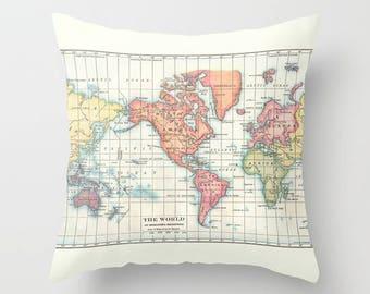 World Map Pillow - continent map - colorful world map, travel decor, wanderlust,  Vintage Maps, unique