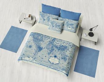Blue World Map Duvet Cover - bedding, comforter -  map, blue, beige, boy's bedroom, travel decor, cozy soft, warm,  atlas, geography