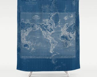 Dark blue Map Shower Curtain -  Dark blue and gray Vintage World Mercator Map Shower Curtain  Home Decor - Bathroom, Travel theme, masculine