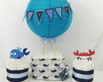 Whale Always Love You Hot Air Balloon Diaper Cake Set  Whale Baby Shower  Whale Diaper Cake  Boys Baby Shower Centerpieces  Boys Diaper Cake