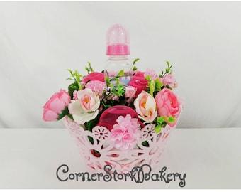 Pink Baby Girl Gift Basket  Girl Baby Gifts  Girl Diaper Gifts  Pink Basket of Baby Goodies  Baby Gift  Baby Shower Gifts  Pink Baby Gifts