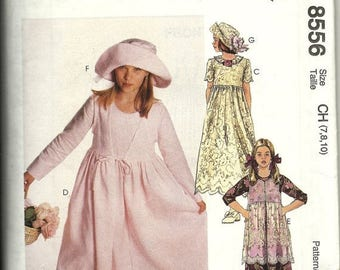 25% OFF McCall's 8556     Girls Dresses Tunic and Hat   Sizes 7,8,10   Uncut