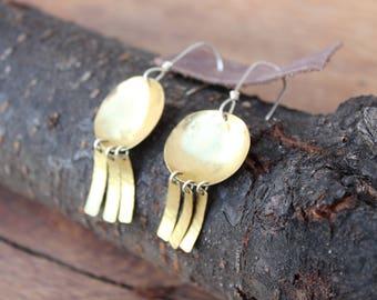 Brass & Sterling Silver Dangle Earrings
