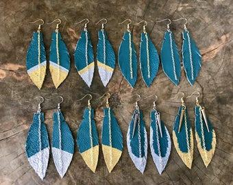 Aqua Green Leather Feather Earrings, Green Leather Earrings, Feather Jewelry, Boho Earrings, Statement Gift, Modern Earrings, Free Shipping