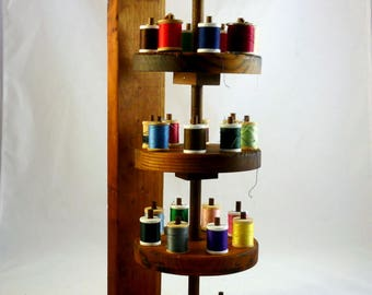 WOODEN SPOOL HOLDER Thread Caddy Multi-Tiered Wooden Spool Thread Holder for 41 Spools 3 Rotating Spinnable Tiers Wood Caddy Thread Holder