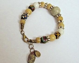 Bracelet African beads, bone beads, wooden beads, women gift idea gray gemstones