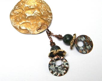 Rustic earrings, hammered copper and patina, ceramic handmade, turquoise, copper