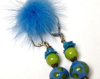 Lovely pair of poetic, boho chic, glass, brass, fabric, Stud Earrings