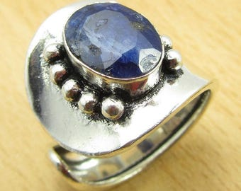 Modern ring, adjustable, Sapphire and Silver 925