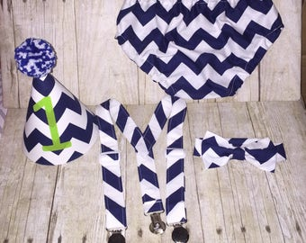 Boys Cake Smash Outfit - Blue Chevron - Diaper Cover, Tie, Suspenders & Birthday Hat - Birthday Set