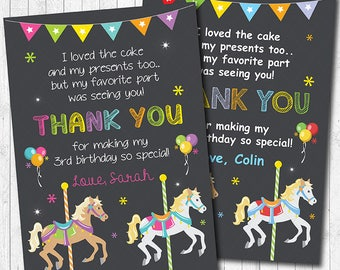 Carousel Thank you Card, Carousel thank you note, Carousel thank you tags, Carousel birthday, Boy, Girl, Carousel party, printable
