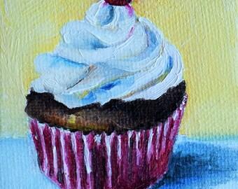 Original Miniature Painting, Impressionist Red Velvet Cupcake, Kitchen Art 2.5x2.5 Inch