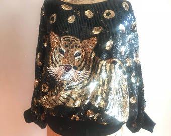 Vintage 80s Sequin Tiger Top