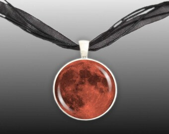 "The Orange Harvest Moon of Earth Astronomy 1"" Pendant Necklace in Silver Tone * FREE Shipping in USA *"