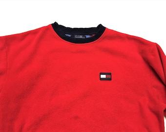 Vintage 90s Tommy Hilfiger Tommy Jeans Red Blue Logo Fleece Sweatshirt XL